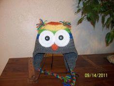 Owl Hat  Gray Orange Yellow Green Blue by HenHouseCrochet on Etsy