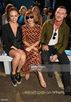 Stella McCartney, Anna Wintour and Luke Evans attend the Hunter Original Spring/Summer 2016 Collection during London Fashion Week at Euston Station Parcel Deck on September 19, 2015 in London, England.