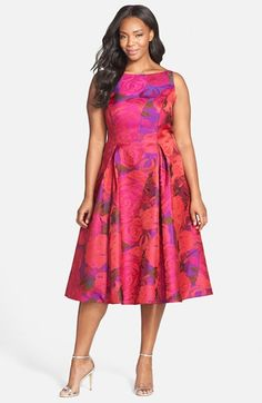 curvy fashion -plus size fashion Adrianna+Papell+Floral+Jacquard+Party+Dress+(Plus+Size)+available+at+#Nordstrom