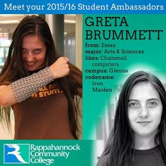 Her name is Greta and she is into chainmail and computers (among other things). She is one of our many Student Ambassadors who help make student life fun around campus! #studentlife #virginia #rappahannock #community #college #comm_college #students #nnk #northernneck #middlepeninsula #essex #chainmail #computers #highered