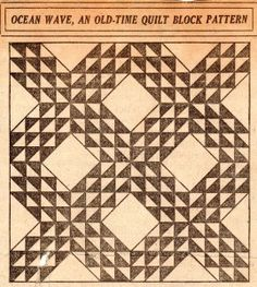 Vintage Ocean Wave Quilt Pattern – VTNS Fan Freebie.  Here's the pattern for those vintage blocks my cousin gave me.