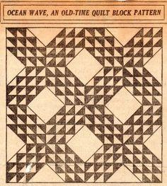 Vintage Ocean Wave Quilt Pattern – VTNS Fan Freebie.  Here's the pattern for those vintage blocks my cousin gave me.