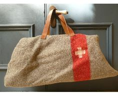 Vintage Swiss Army Blanket Travel Bag