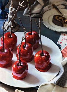 Use twigs for candy or caramel apples! Love the look of these!