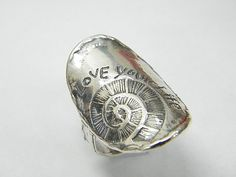 SHABLOOL ISRAEL Didae 925 Sterling Silver Love Your Life Ring Sz. 6 7 8 9