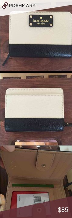 Kate spade wallet Cream and black, red interior kate spade Bags Wallets