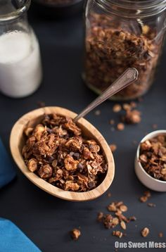 Chocolate Hazelnut Granola: Crunchy oats and toasted hazelnut morsels are coated with a melted Nutella mixture and loaded with mini chocolate chips.
