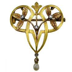Art Nouveau Yellow Gold Brooch - late 19th century