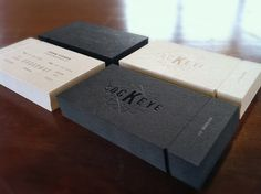 Business cards with perforated take-aways and blind emboss repinned by www.BlickeDeeler.de