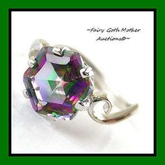 'Fancy! 3ct SS Genuine Rainbow Topaz Ring Size 6' is going up for auction at 8pm Fri, Jun 28 with a starting bid of $1.