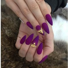 Glorious matte Eggplant purple almond nail art with gold stones
