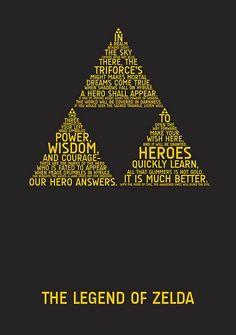 The Legend of Zelda, Typographic Triforce Design The Legend Of Zelda, Legend Of Zelda Quotes, Zelda Tattoo, Typographic Poster, Typography Art, Vintage T-shirts, Wind Waker, Link Zelda, Fandoms
