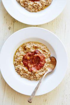 Creamy Oatmeal with Rhubarb & Ginger Preserves