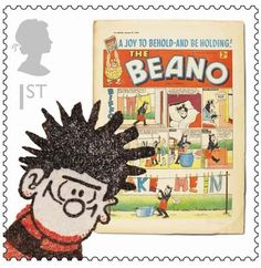 The Chase has designed a range of British comic stamps for the Royal Mail, featuring The Dandy's Desperate Dan, Dennis the Menace from The Beano, football strip Roy of the Rovers, and the Four Marys from Bunty. Royal Mail Stamps, Dennis The Menace, Creative Review, Classic Comics, Mail Art, Stamp Collecting, My Stamp, Postage Stamps, Illustrators