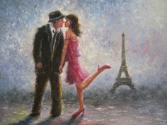 Paris Love Art Print of original painting, Eiffel tower Paris lovers, couples, love, Paris romance, pink, figure, portrait v