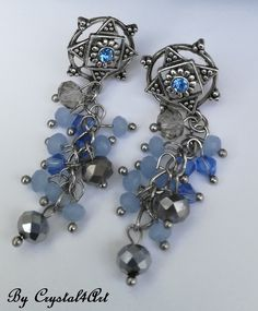 """Blue sky"" handcrafted earrings created with shinning multifaceted crystal glass for romantic women. See more by visiting my online shop https://www.breslo.ro/crystal4art"