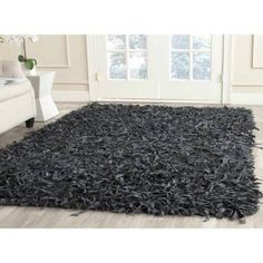 Safavieh Hand-Knotted Leather Shag Area Rug, Gray