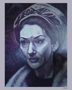Maria Callas. D. Pauer Oilpainting. Germany. siebenspiegel agency. For sale!