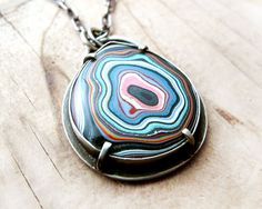 Fordite necklace Detroit Agate fordite jewelry by lulubugjewelry