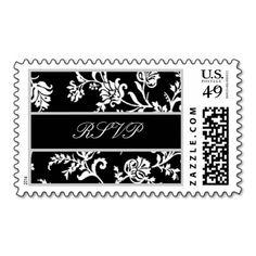 Black White Silver Floral Damask Wedding RSVP Stamps #wedding #stamps #love #marriage #romance #bride #groom #jaclinart #love #postage #black #white #silver #floral #damask #rsvp
