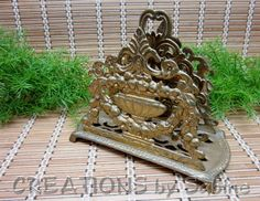 Vintage Brass Napkin Letter Holder Stand / Heavy Gold Tone Metal Ornate Filigree Elegant Classy Fruit Flowers Fancy / FREE SHIPPING  / by CREATIONSbySabine