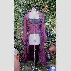 burgundy jacquard Steampunk jacket underbust full length coat --- I can do this with my velvet coat!