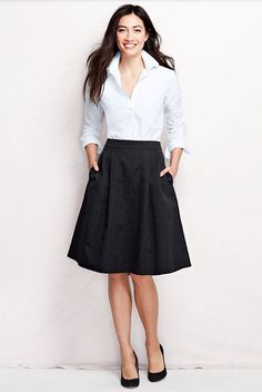 A-line skirts are great for more casual or trendy offices.  |  Follow Rita and Phill for more tips on the unwritten rules of office fashion!   https://www.pinterest.com/ritaandphill/business-casual-for-casual-offices