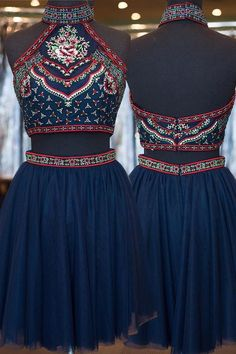 National Style High Neck Two-piece Dark Blue Homecoming Dress Beaded Embroidery