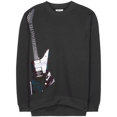 Beta Guitar embellished cotton-blend sweatshirt ($560) ❤ liked on Polyvore featuring tops, hoodies and sweatshirts