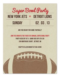 Big Game Lineup - SuperBowl party invitation