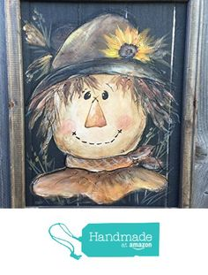 Happy Scarecrow hand painted on window screen,Fall decor,Fall,hand painted,Welcome sign,MADE TO ORDER http://www.amazon.com/dp/B017TG6LI2/ref=hnd_sw_r_pi_dp_ykMqwb0W9EHW6 #handmadeatamazon