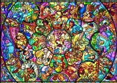 stained glass of Disney characters. I could definitely spends hours coloring this!