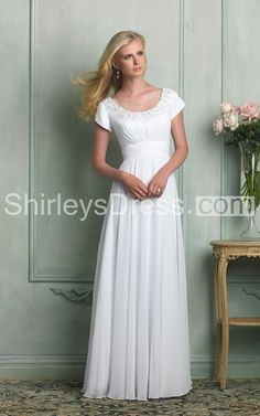 $124.49 700846 Classic Beaded Scoop-neck Empire Waist A-line Chiffon Wedding Gown