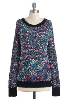 Host Impressionist Sweater - Mid-length, Multi, Knitted, Long Sleeve, Top Rated