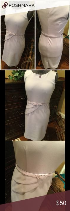 ♦️Premise ponte knit dress in subtle lilac Dress is by Premise and is made of ponte knit fabric, some stretch.  Scallop detail on waist, fabric belt.  Sleeveless with round collar neckline.  Hits at knee.  Size 10.  Line new condition.  Very well made. premise Dresses Midi