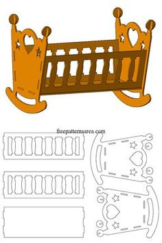 Wooden Doll Cradle Laser Cut Toy Plans - Home Decor Miniature Furniture, Dollhouse Furniture, Baby Cradle Plans, Barbie Furniture, Wooden Dolls, Miniature Dolls, Wood Crafts, Wood Projects, Cribs