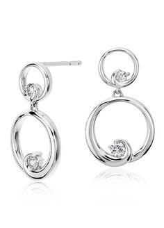 Timeless and classic, these diamond circle earring are framed in elegant drop design of 14k white gold.