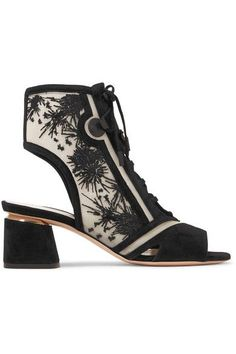 Nicholas Kirkwood - Phoenix Cutout Embroidered Mesh And Suede Sandals - Black - IT