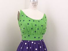 Hey, I found this really awesome Etsy listing at https://www.etsy.com/au/listing/240953583/1970s-green-and-purple-polka-dot-maxi