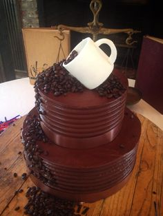 Coffee beans and coffee cup chocolate groom's cake