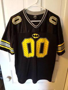 Batman #00 DC Comics  Football Jersey Large Yellow Black Mens #DCComics #GraphicTee