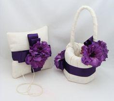 Purple Anemone Flower Girl Basket and Ring by SongsFromTheGarden, $65.00