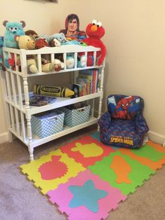 Repurposed changing table: reading area