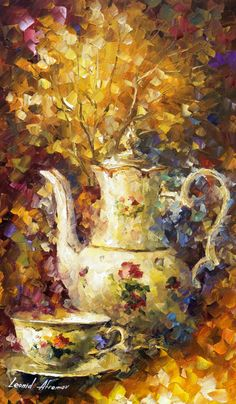 5 O'CLOCK TEA - By Leonid Afremov. You can get 15% discount! Use this discount coupon - x25mk721oz http://afremov.com/FIVE-OCLOCK-TEA-palette-knife-Oil-Painting-On-Canvas-By-Leonid-Afremov-20x30.html?bid=1&partner=14089