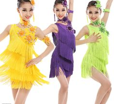 237a28ff35b6 New Girls Sequined Tassels Latin Dance Costumes Kids Salsa Ballroom Dress  Female Stage Performance Clothing Tango Dress
