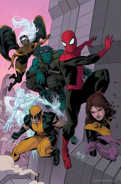 Spidey, X-Men and Lockheed by Paolo Rivera #ComicArt #ComicBooks -- Not a fan of how Iceman is drawn these days but anyway