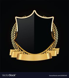 Gold and black shield with gold laurels 04 vector image on VectorStock Gold And Black Background, Logo Gallery, Luxury Logo, Graphic Wallpaper, Cool Logo, Art Logo, Flower Graphic Design, Laurel Wreath, Backgrounds Free