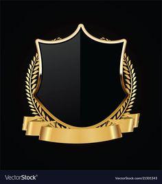 Gold and black shield with gold laurels 04 vector image on VectorStock Gold And Black Background, Flower Graphic Design, Honey Logo, Royal Logo, Logo Gallery, Luxury Logo, Graphic Wallpaper, Art Logo, Laurel Wreath