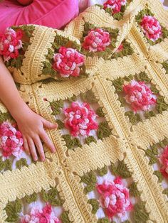 Such a pretty crocheted blanket.