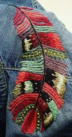 Federstickerei & Feather embroidery & The post Feather embroidery & embroidery appeared first on Embroidery and Stitching. Embroidery Fabric, Embroidery Fashion, Embroidery Patches, Fabric Art, Cross Stitch Embroidery, Embroidery Patterns, Sewing Patterns, Embroidery On Denim, Bone Bordado